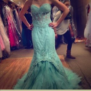 Mint Lace Strapless Prom Dress